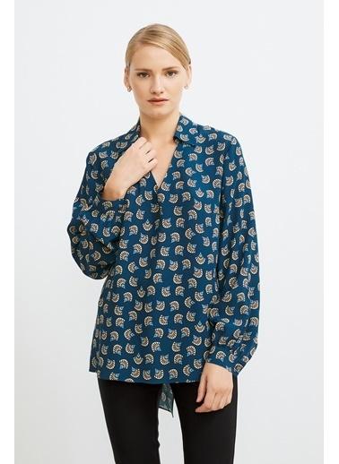 Love My Body Gömlek Yaka Desenli Bluz Petrol